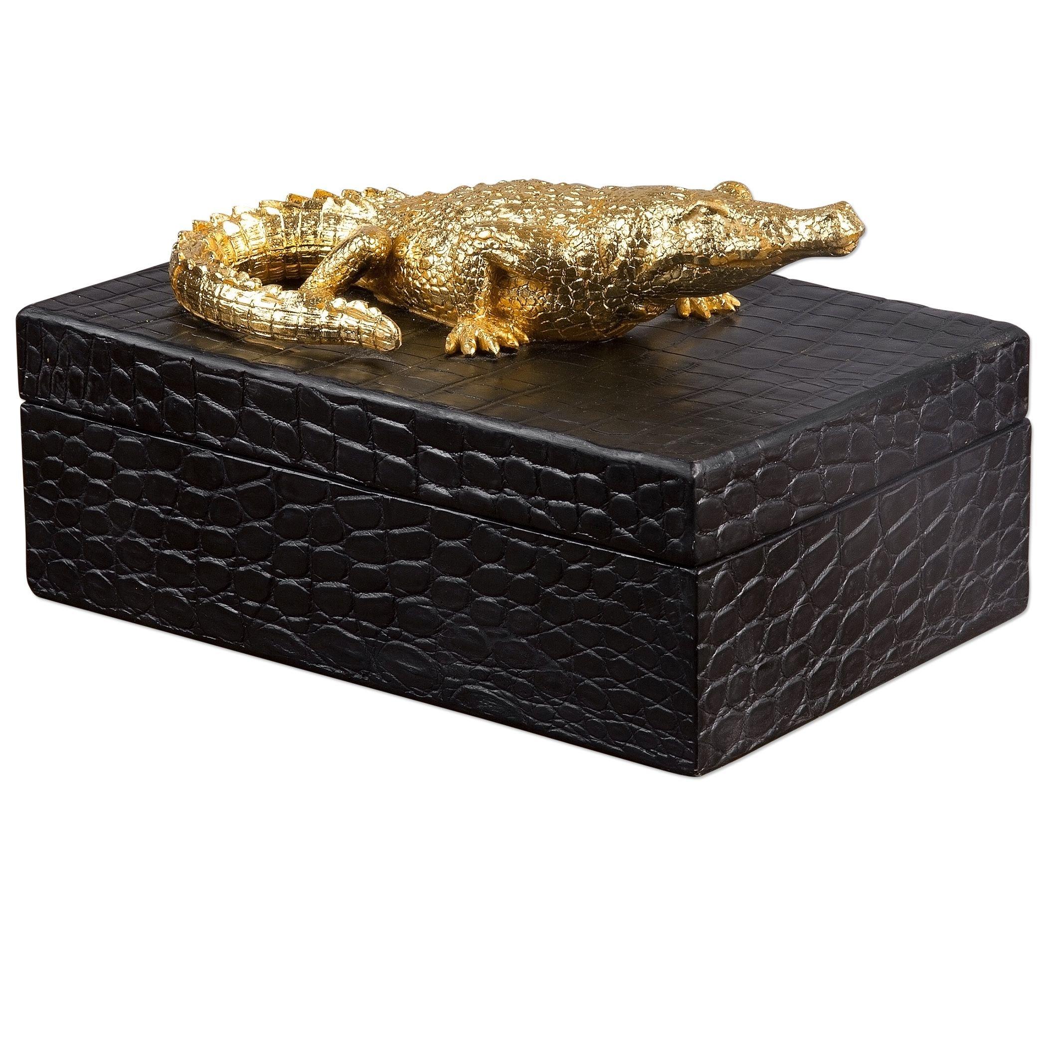 Elegant Gold Alligator Trinket Box   Crocodile Reptile Print Decor Black Skin by Uttermost