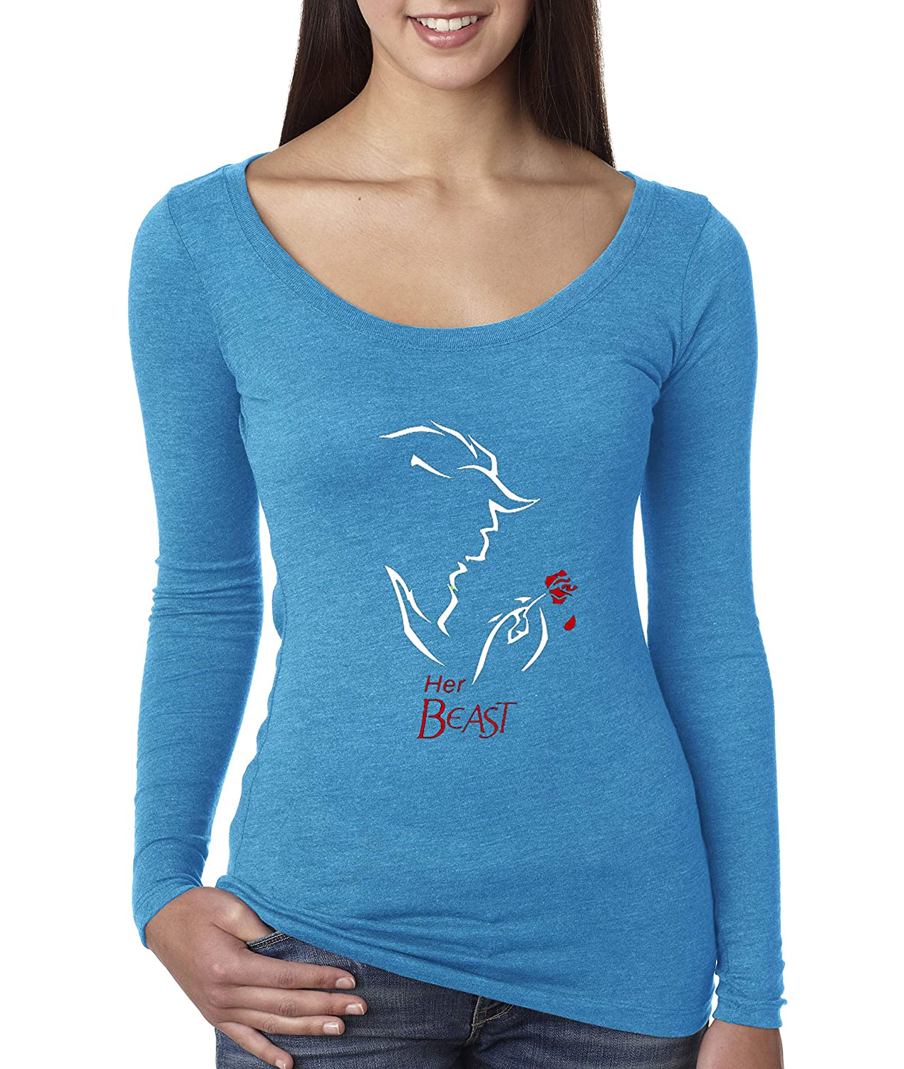 Turquoise Trendy USA 642  Women's Long Sleeve TShirt Her Beast Couples pink Petal Belle Beauty
