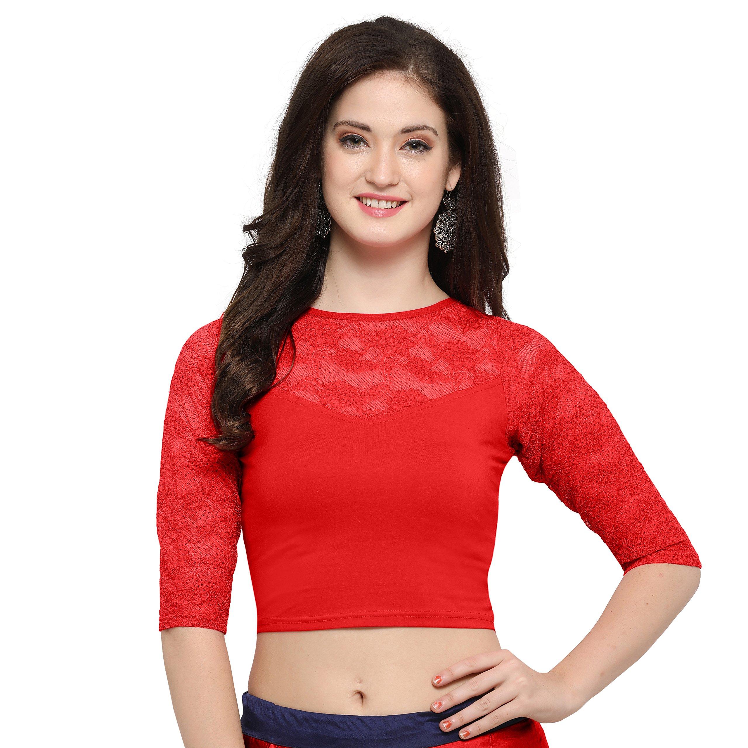 Janasya Indian Tunic Tops Readymade Cotton Lycra Saree Blouse for Women (BL020-71RED-B)