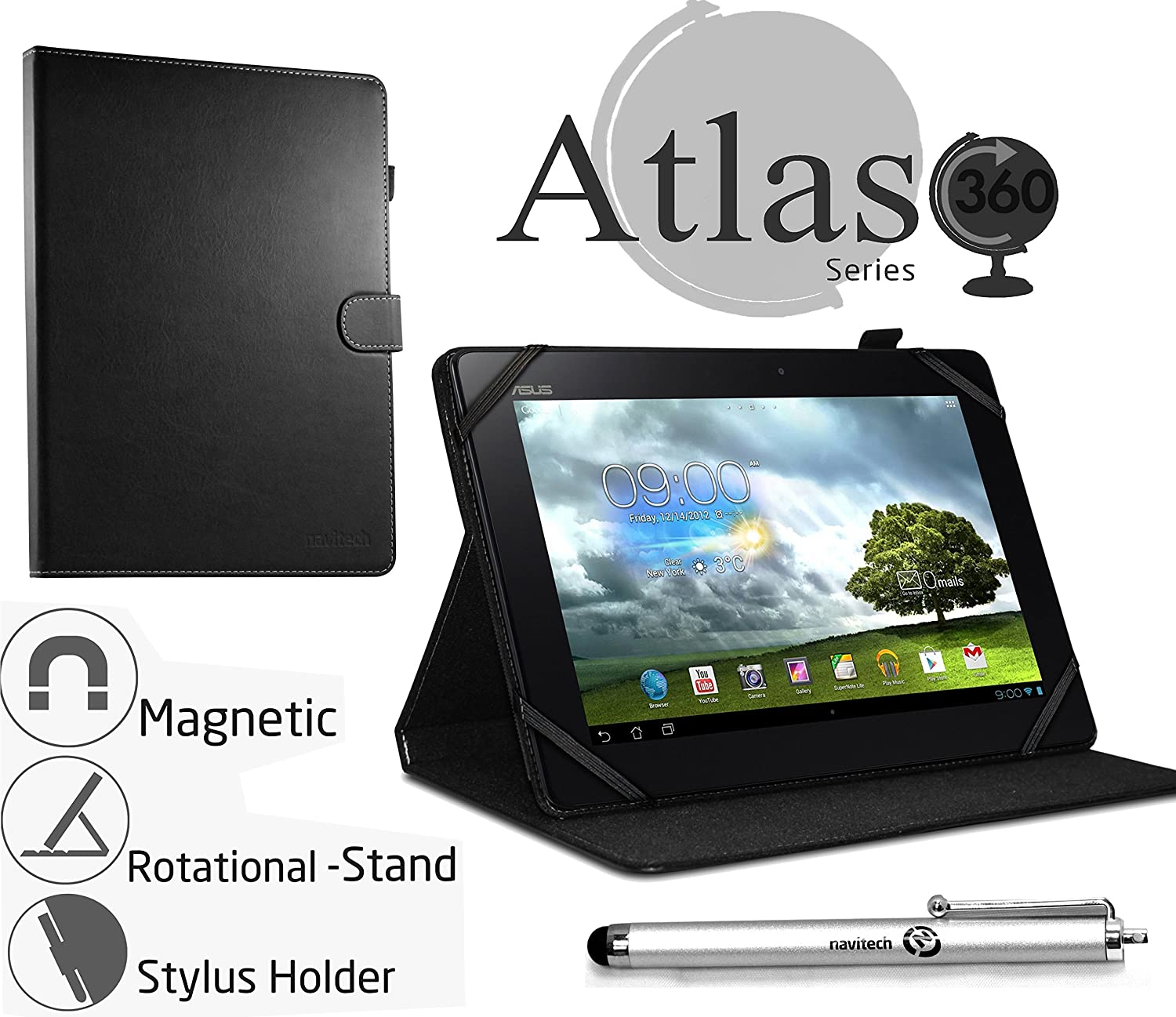"""Navitech 10"""" Black Case/Cover with 360 Rotational Stand & Stylus Pen Compatible with The Acer Iconia Tab 10 A3-A20 / Hp Pailion 2 / Toshiba Encore 2 10"""" / Lenovo Tab A10-70 / Medion Akoya E1233T"""