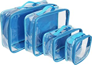 Clear Travel Packing Cubes Set of 4 for Carry On (XS, Small, Medium, Large) / See-Through Clothes Organizer Dividers for Suitcase/Transparent Vinyl PVC Cell Pouches for Luggage (Turquoise)