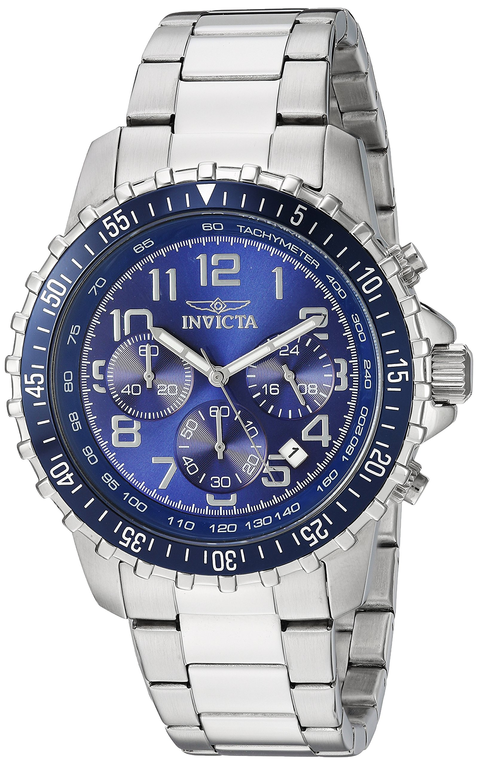 Invicta Men's 6621 II Collection Chronograph Stainless Steel Silver/Blue Dial Watch by Invicta