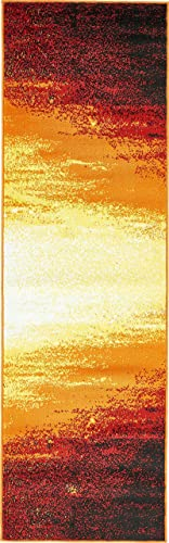 Unique Loom Metro Collection Bright Warm Colors Abstract Light Orange Runner Rug 2 0 x 6 7