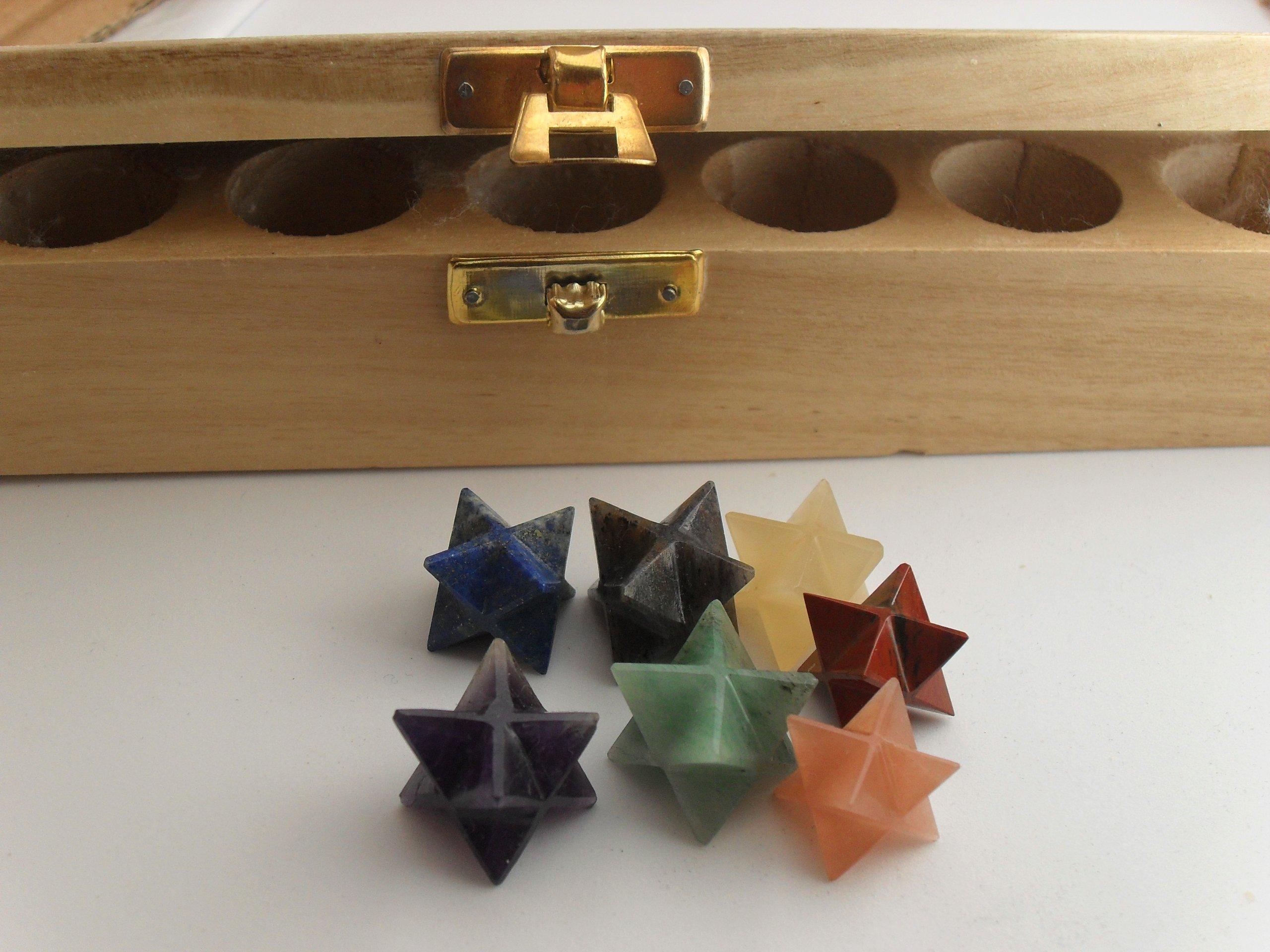 Gemstone Merkaba Star Sacred Geometry Set w/ Wooden Box- Chakra Balancing