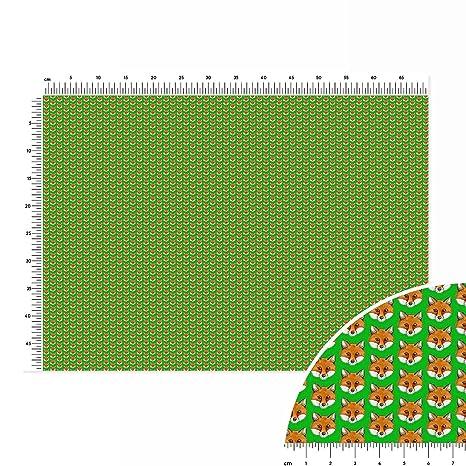 Fox Face Sfondo Verde Tinta Unita Cotone Tessuto Fat Quarter 70 X