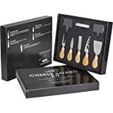 Cheese Knife And Marker Set, 5 Cutlery Knives Stainless Steel Bamboo Handles, 4 Cheese Board Labels Made Of Natural Black Slate Includes 2-Chalk Markers. Gift For All Occasions By House Ur Home