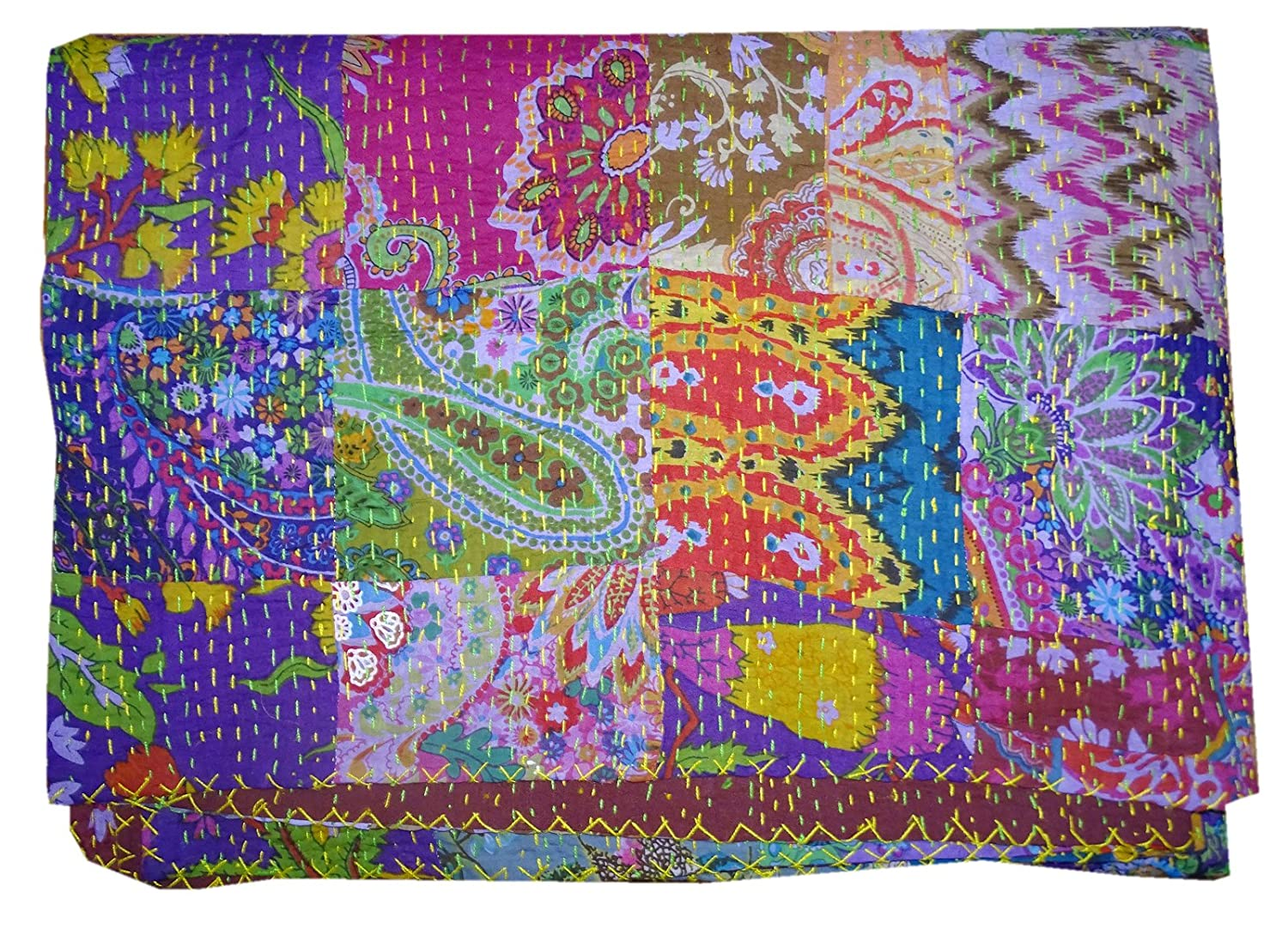 Bhavya International 100% Cotton Ethnic Handmade Kantha Blanket Gudari Throw Decor Hippie King Size Quilt Ralli Patchwork Bedspread