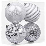 Valery Madelyn 4ct 150mm Frozen Winter Silver White Shatterproof Christmas Ball Ornaments Decoration,Themed with Tree…