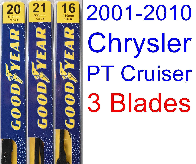 Amazon.com: 2001-2010 Chrysler PT Cruiser Replacement Wiper Blade Set/Kit (Set of 3 Blades) (Goodyear Wiper Blades-Premium) (2002,2003,2004,2005,2006,2007 ...