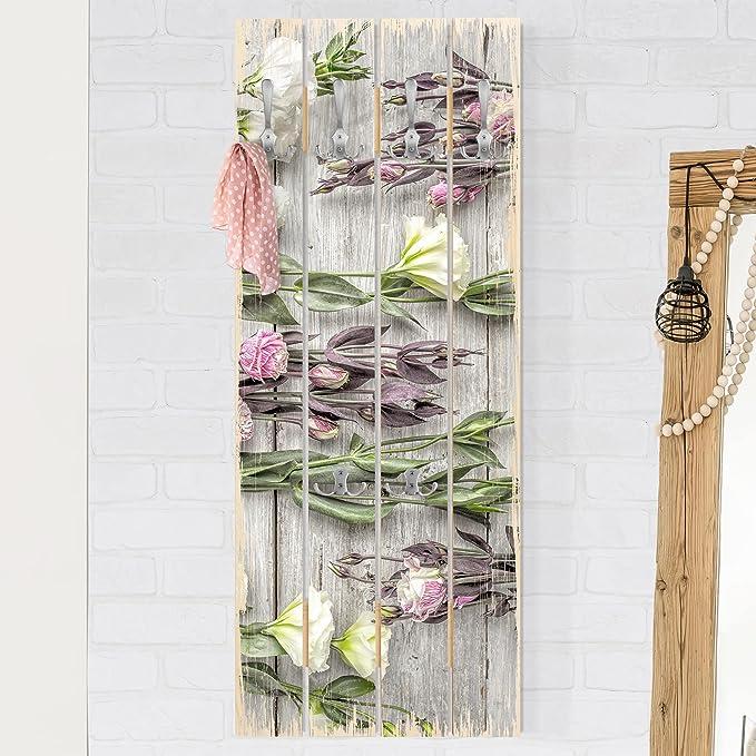 Bilderwelten Perchero de Madera - Shabby Roses On Wood ...