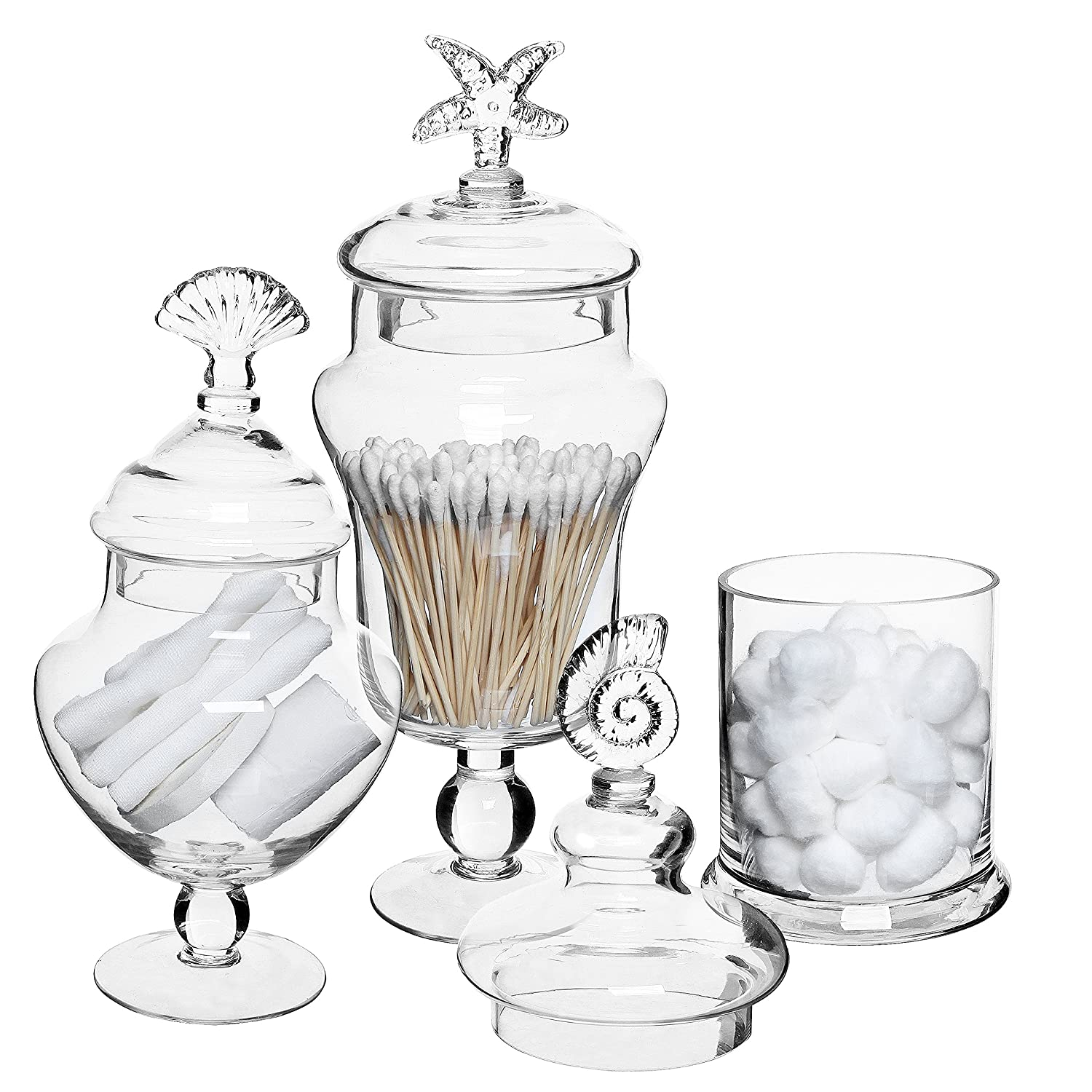 Set 3 clear glass apothecary food storage jar seashell for How to decorate empty glass jars