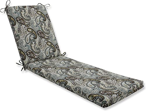 Pillow Perfect Outdoor Indoor Tamara Paisley Quartz Chaise Lounge Cushion, 80 in. L X 23 in. W X 3 in. D, Blue