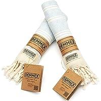 (Set of 2) DEMMEX Certified 100% Organic Cotton & Organic Dye Prewashed Diamond Weave Turkish Hand Face Gym Towel, 18x36…