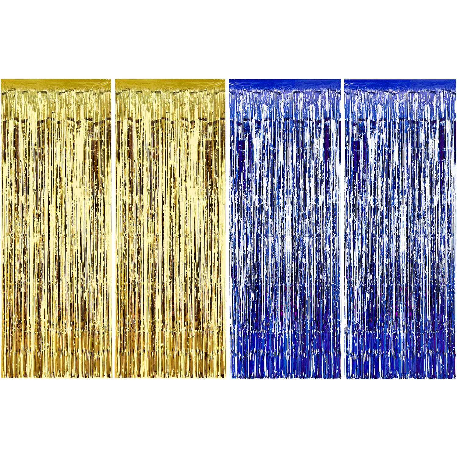 4 Pack Foil Curtains Metallic Fringe Curtains Shimmer Curtain for Birthday Wedding Party Christmas Decorations (Black) Sumind