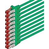 2m - vert - 10 pièces - CAT6 Câble Ethernet Set - Câble Réseau RJ45 | 10 / 100 / 1000 Mo/s | câble de Patch | LAN Câble |CAT 6 | S-FTP | double blindage | PIMF | 250 MHz | sans halogène | compatible avec CAT 5 / CAT 6a / CAT 7 | pour le switch, routeur, modem, Patchpannel, point d'accès, panneaux de brassage