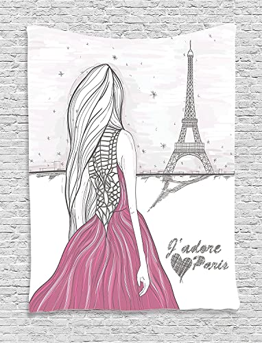 Ambesonne Paris Tapestry, Romantic Dramatical Woman Looks at Eiffel Tower Love Theme Sketch Style Illustration, Wall Hanging for Bedroom Living Room Dorm Decor, 40 X 60 , White Pink