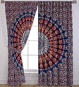 Indian Mandala Curtain Balcony Sheer Room Divider Living Room Bohemian Decor Light-Filtering Blackout Gypsy Door Curtain (Orange & Blue)