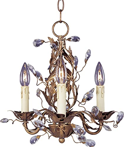 Maxim 2855EG Elegante Crystal and Leaves Around Vines Candle Mini Chandelier, 3-Light 180 Watts, 15 H x 14 W, Etruscan Gold