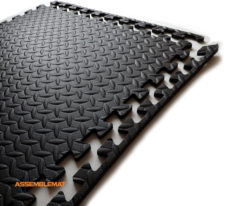 Enclavamiento colchonetas de gimnasia para la Yoga-ejercicio-garaje - protección de sala-anti piso fatiga-EVA espuma-caucho mejor negro complicada ...