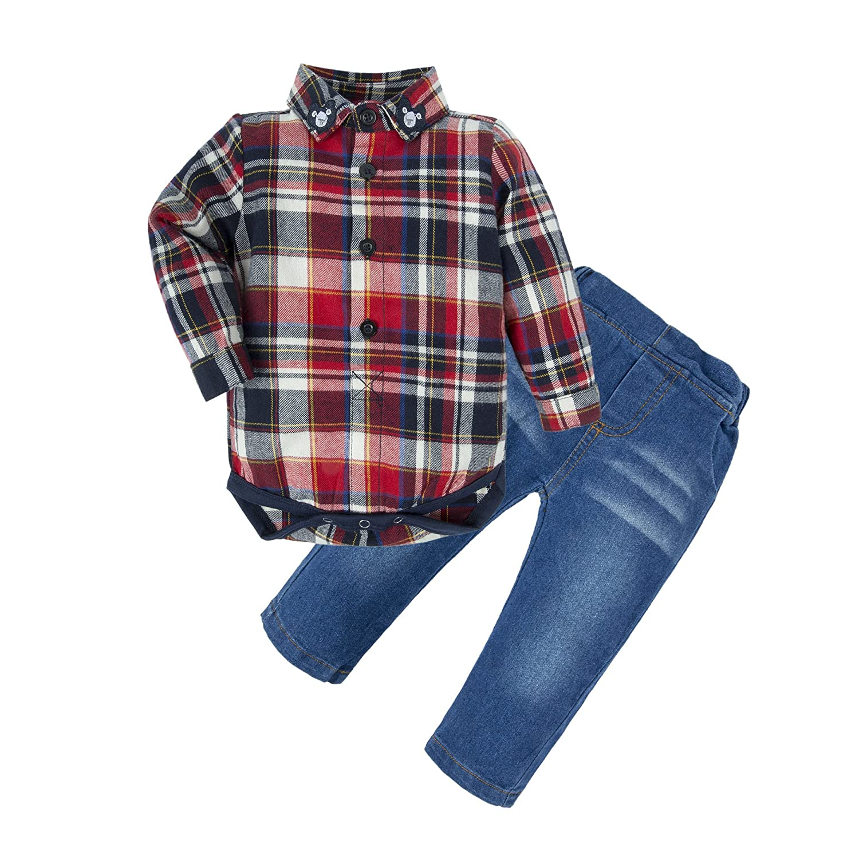 BIG ELEPHANT Baby Boys' 2 Pieces Long Sleeve Plaid Shirt Jeans Clothing Set U50