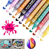 Acrylic Paint Marker Pens-Permanent Medium Tip for Stone, Rock & Pebble Painting-Wood, Fabric, Metal, Glass, Ceramic Mug Design, Scrapbooking, Crafts & DIY Cardmaking. Set of 12. by CarnA.