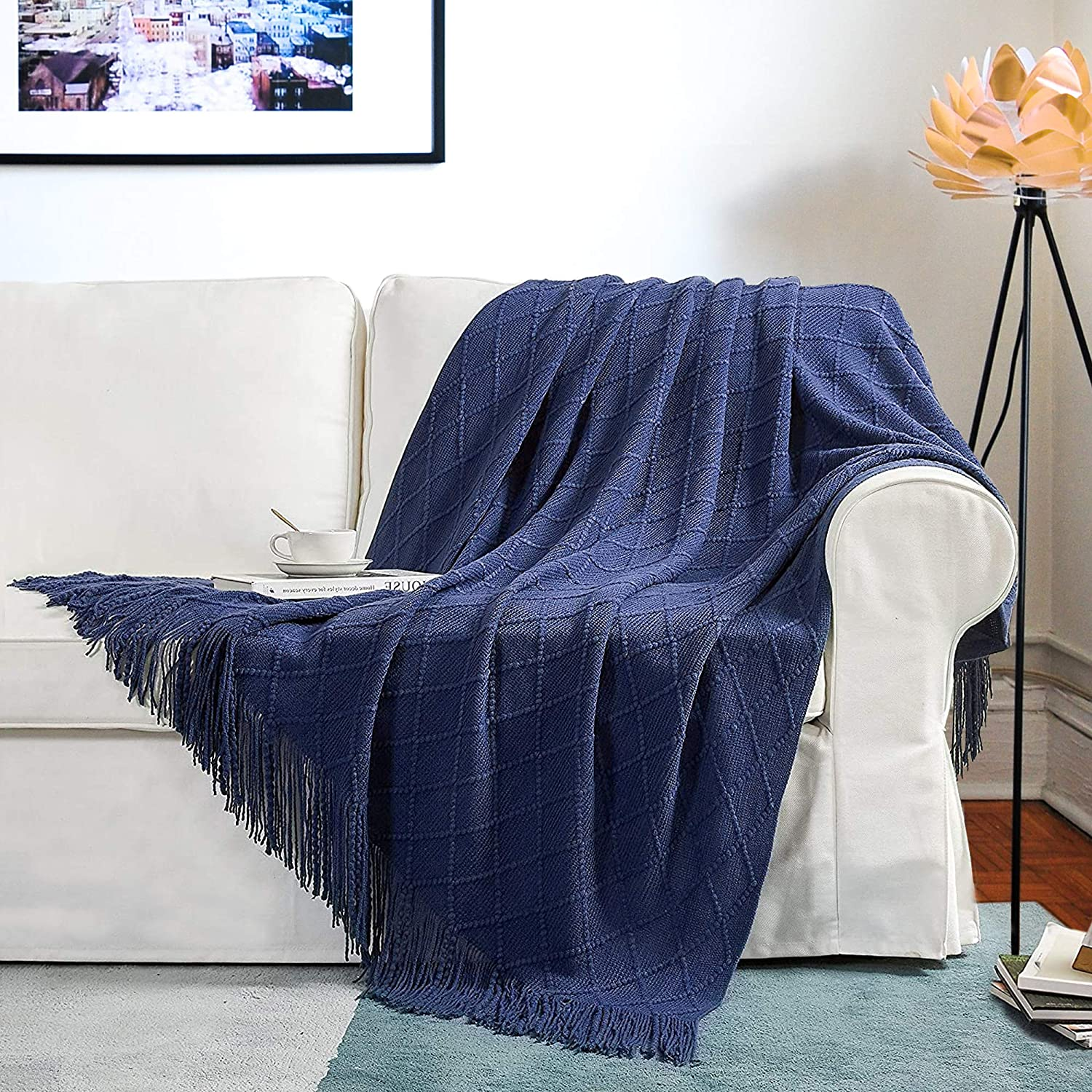 JS HOME Acrylic Fabric Knit Throw Blanket, 50×60 Inch, Ultra Soft, Cozy, Warm Lightweight Blanket with Decorative Tassels for Couch, Sofa, Bed, Travel, Office, Indigo Blue