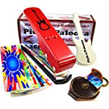 Pick-a-Palooza DIY Guitar Pick Punch with Leather Key Chain Pick Holder, 15 Pick Strips and a Guitar File - Red/Silver