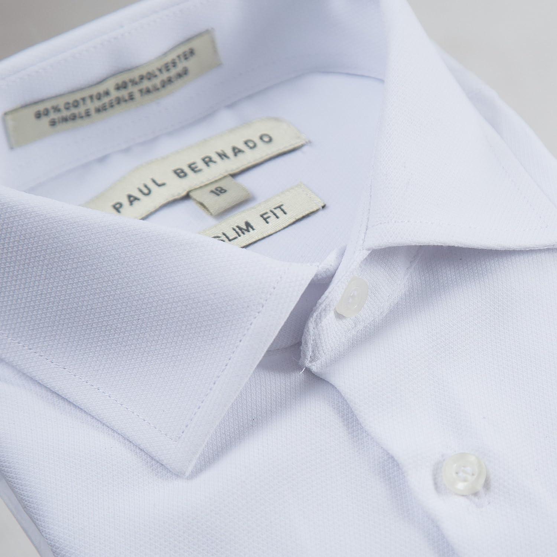 Paul Bernado Boys Slim Fit Short Sleeve Pique Design Dress Shirt