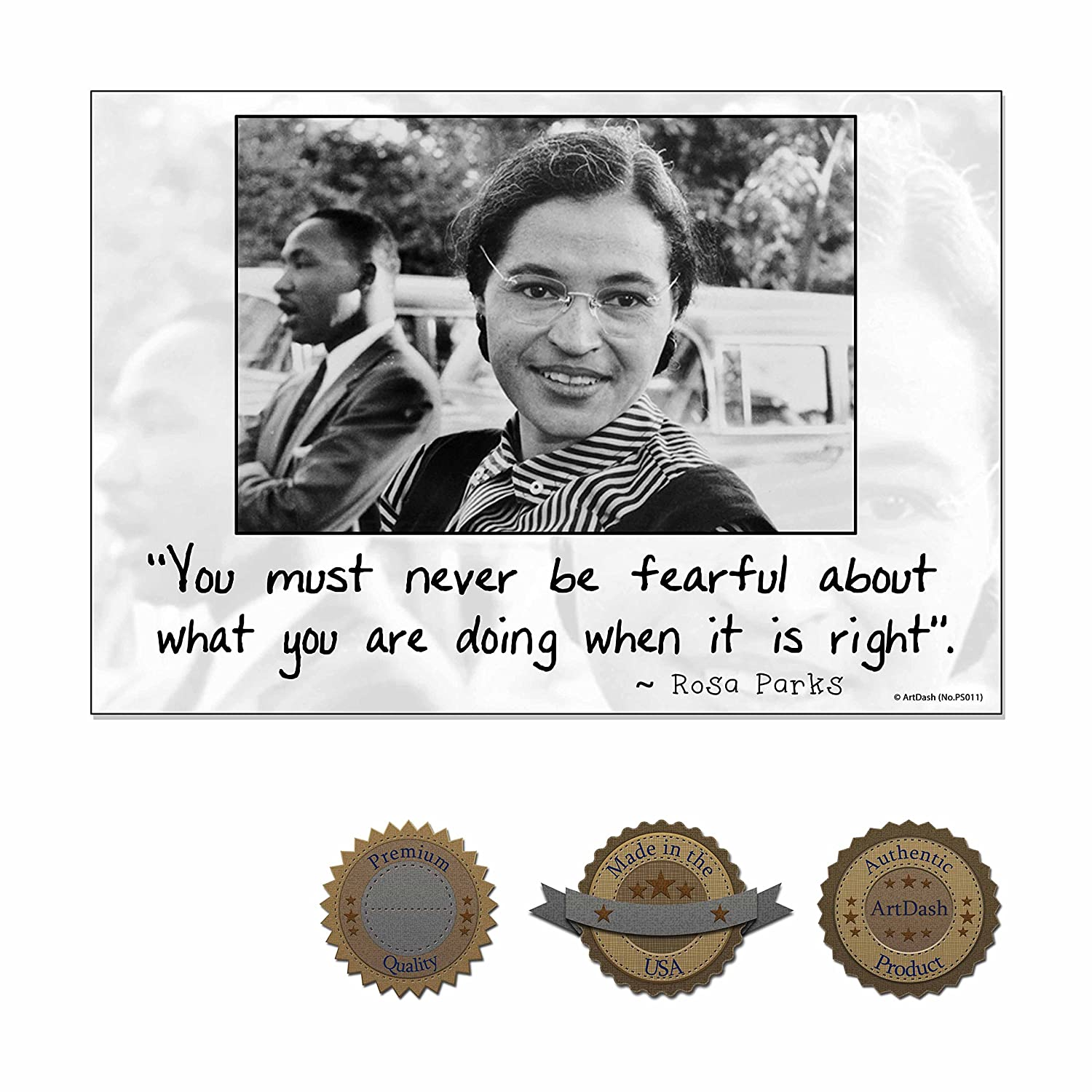 ArtDash® Inspirational Poster Print for Classroom, Home, or Office: ROSA Parks (Premium Canvas, 13'×19')