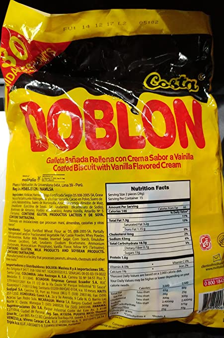 Amazon.com: Cosa Doblon Chocolate Coated Biscuit with Vanilla Cream (Bag of 30 Pieces) from Peru