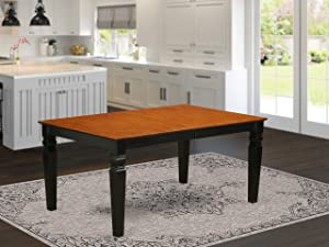 Weston Rectangular Dining Table with 18 in butterfly Leaf in Black and Cherry