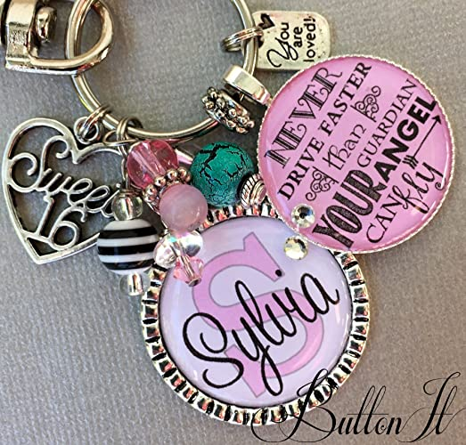 Sweet 16 Birthday Gift 16th Never Drive Faster Than Guardian Angel Can Fly Personalized Key Chain Daughter Niece
