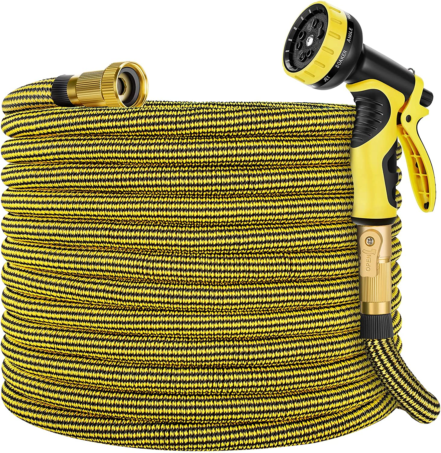 Zoflaro Garden Hose 50ft, Expandable Water Hose 50 feet with 10 Function Spray Nozzle, Extra Strength 3750D, Durable 4-Layers Latex Flexible Expandable Hose with 3/4