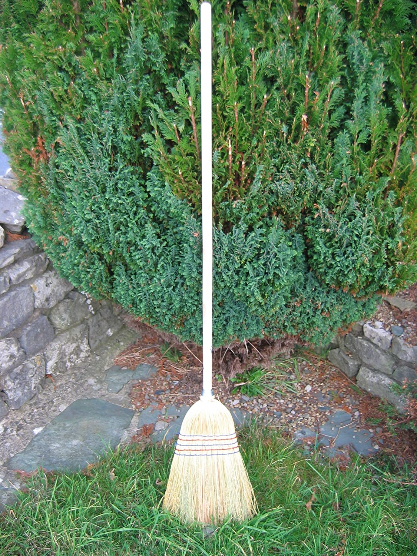 Corn Broom - USA Pattern 53' (140cm) Long Wooden Handle, New Faulks and Company