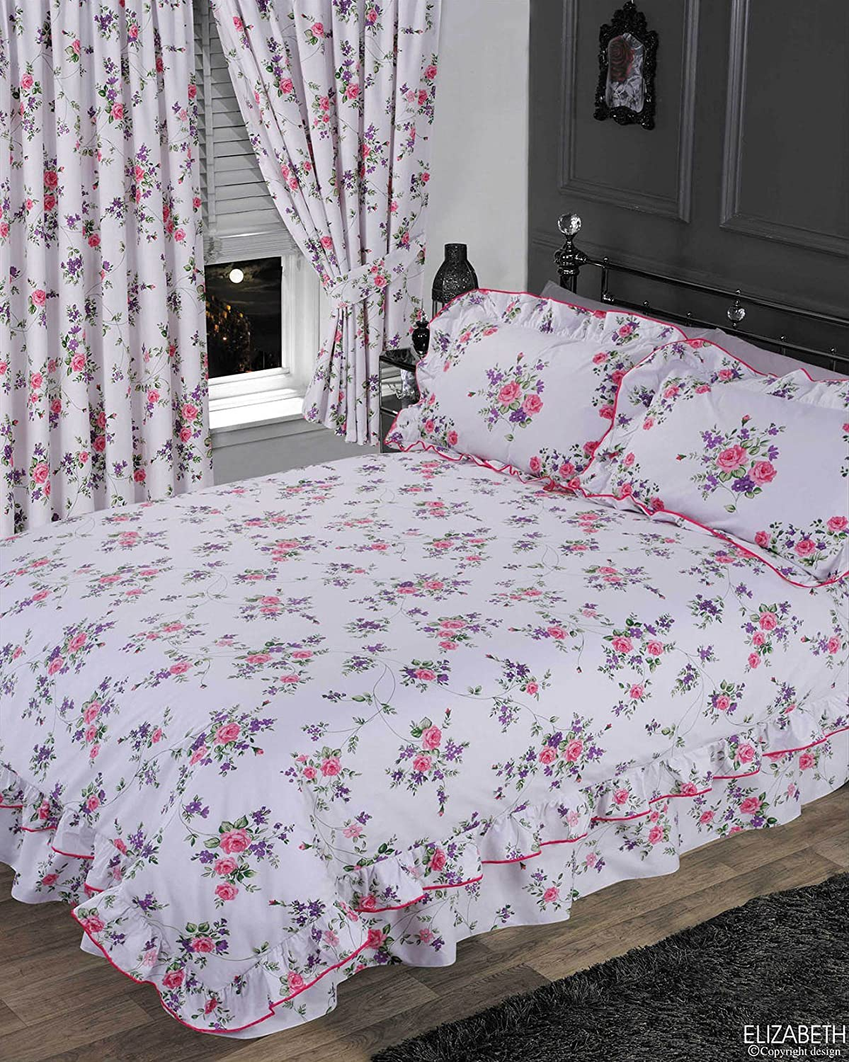 LIZ WHITE FLORAL FRILLED PURPLE PINK GREEN LILAC TRADITIONAL BEDDING OR CURTAINS