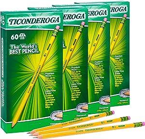 TICONDEROGA Pencils, Wood-Cased, Pre-Sharpened, Graphite #2 HB Soft, Yellow, 240-Pack (14634)
