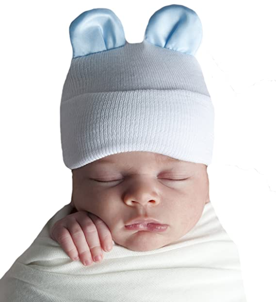 ad943a2fb Amazon.com  Melondipity Blue Silk Bear Ears White Hospital Hat for ...