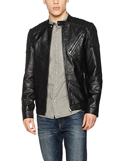 0894472f Jack & Jones Men's JCOMORTY Leather Jacket (Black Fit:Leather), Medium