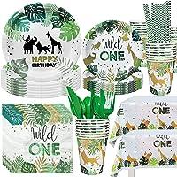 NAIWOXI Wild One Birthday Decorations - Safari Birthday Decorations, Including Safari Plates, Cups, Napkins, Tablecloth…