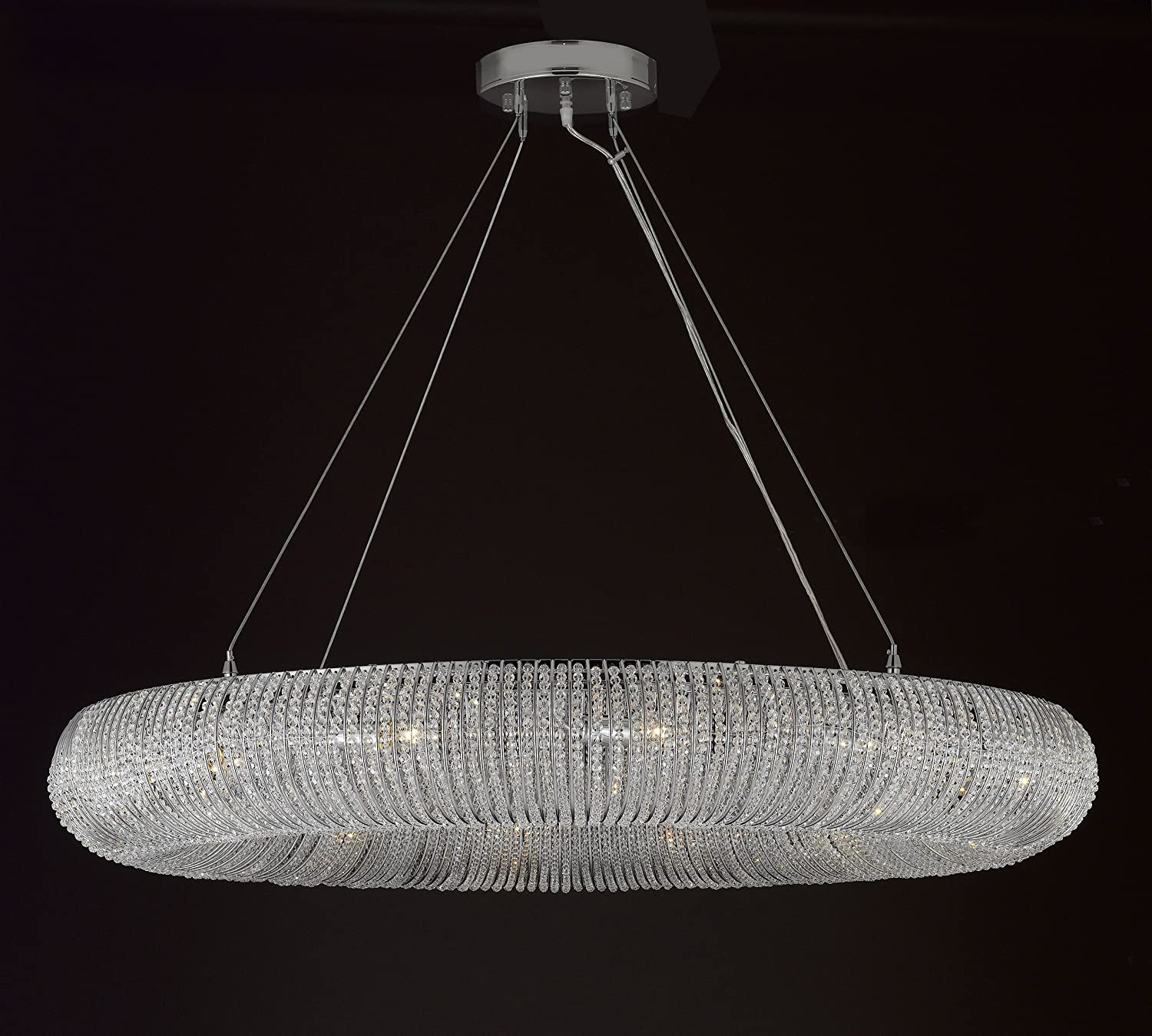 Family Room and More! Crystal Halo Chandelier Modern//Contemporary Lighting Floating Orb Chandelier 41 Wide Good for Dining Room Foyer Entryway