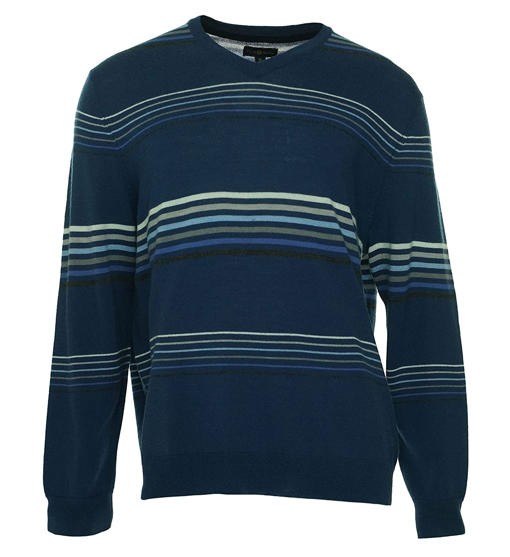 Club Room Striped V-Neck Sweater XX-Large Shark Eye Blue Merino Wool Blend