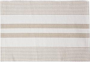 C&F Home Classic Stripe Woven Sandstone Tan & White Stripe Woven Cotton Reversible Machine Washable Placemat Set of 6 Rectangular Placemat Set of 6 Tan