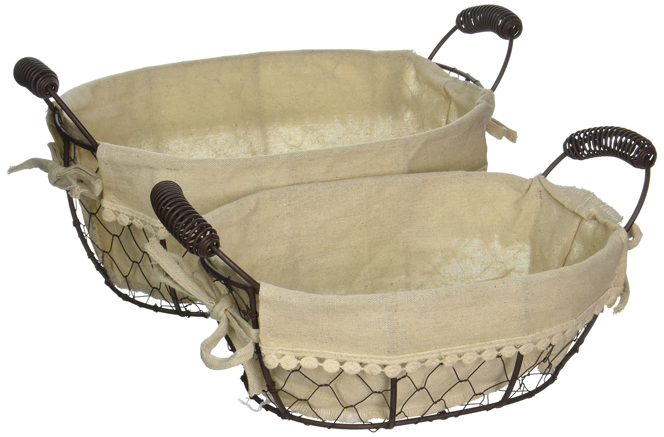 Blossom Bucket 131-36406 Oval Fabric Wire Baskets with Handles (Set of 2), 11-3/4 x 7''
