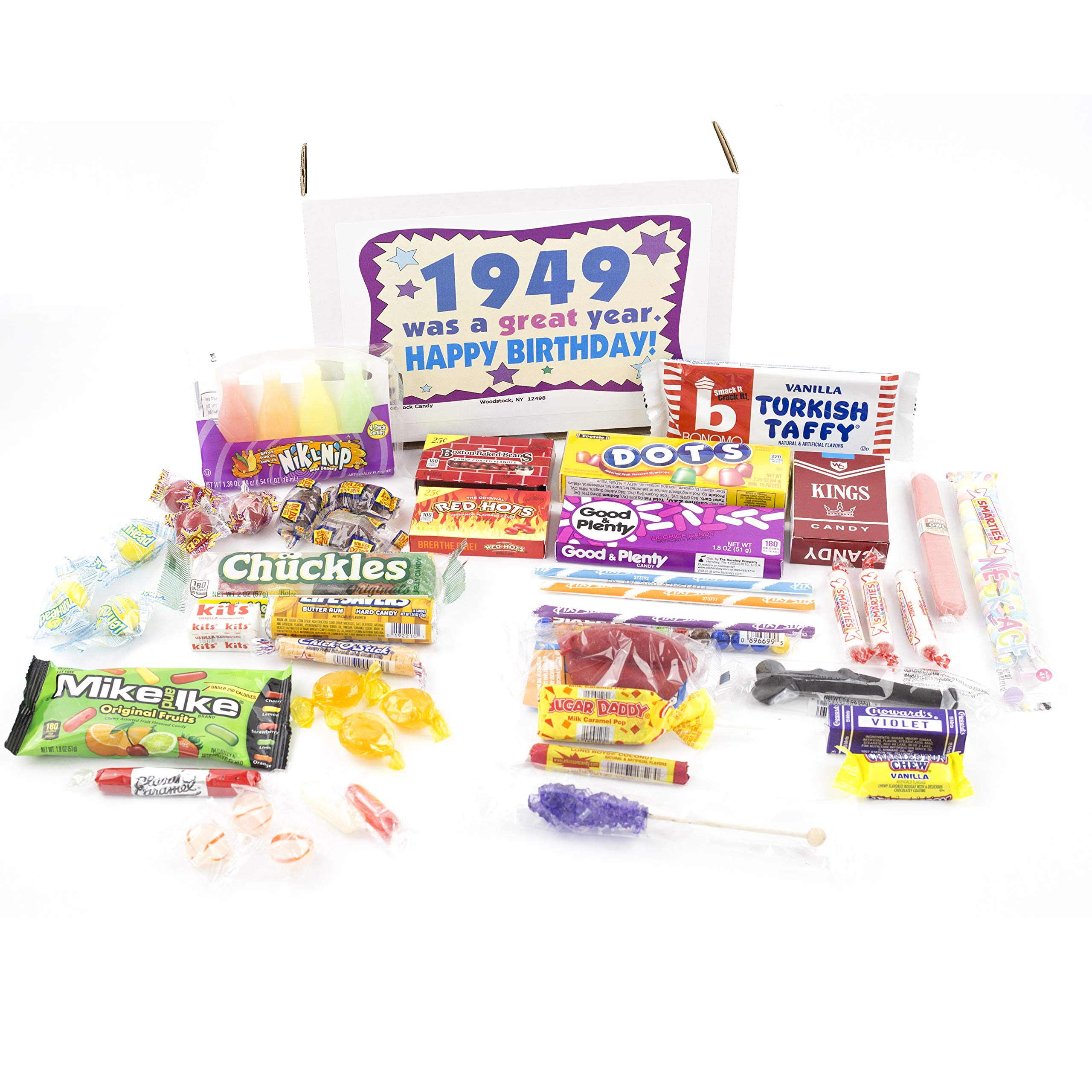 Woodstock Candy ~ 70th Birthday Gift Box of Nostalgic Retro Candy Mix from Childhood for 70 Year Old Man or Woman Born 1949 - Great Idea for Mom or Dad - Jr