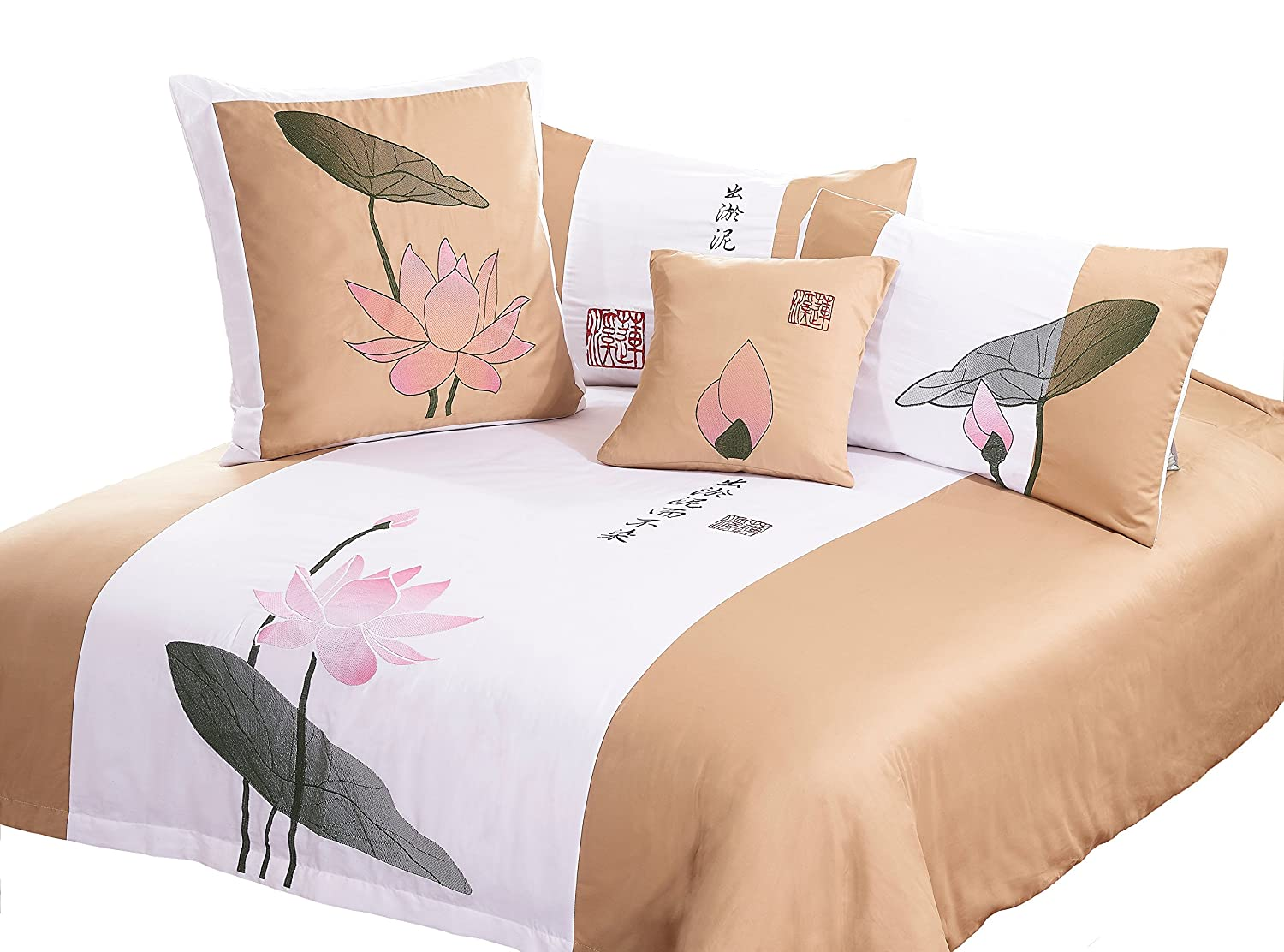 3 Piece Bedding Set with Lotus Flower Oriental Design Gold and White