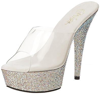 Pleaser Women's Bejeweled-601DM Platform Sandal,Clear/Silver Multi,5 ...