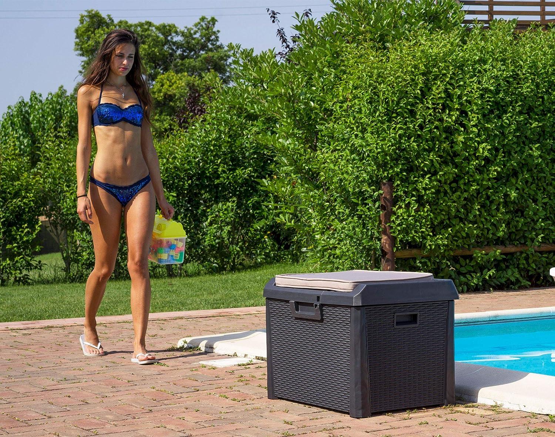 73 x 50,5 x 49,5 cm verschlie/ßbare Terrassenbox inkl Kunststoff Sitzkissen Outdoor Gartentruhe mit 125l Stauraum