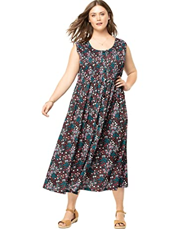 457e107ef41d Woman Within Women's Plus Size Pintucked Floral Sleeveless Dress