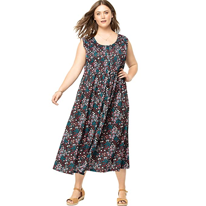 Woman Within Women\'s Plus Size Pintucked Floral Sleeveless Dress