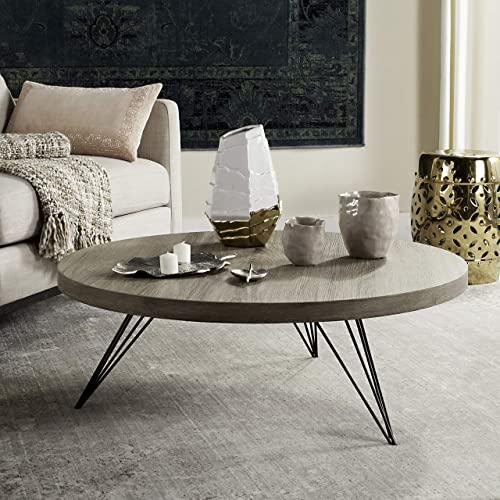 Safavieh Home Collection Mansel Mid-Century Light Oak Hairpin Leg Round Coffee Table
